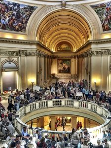 Education protesters inside the Oklahoma Capitol