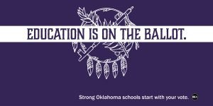 Education is on the ballot on a purple background with the Osage shield