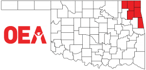 Oklahoma map with Northeast Region Zone A counties highlighted