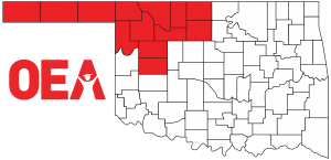 Oklahoma map with Northwest Region Zone A counties highlighted