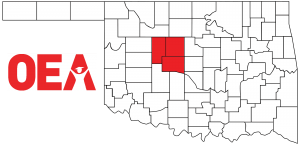 Oklahoma map with Northwest Region Zone C counties highlighted