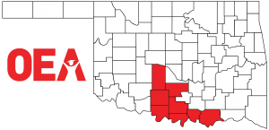 Oklahoma map with Southwest Region Zone C counties highlighted