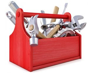 A red toolbox full of tools