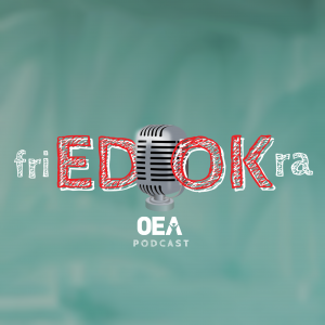 The words Fried Okra over a microphone